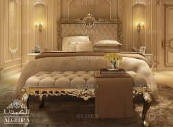 gold design bedroom interior