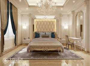 مشروع تصميم داخلي كلاسيكي غرفة نوم جميلة أساسية