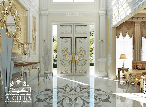 Lobby entrance design for villas houses palaces for Villa lobby interior design