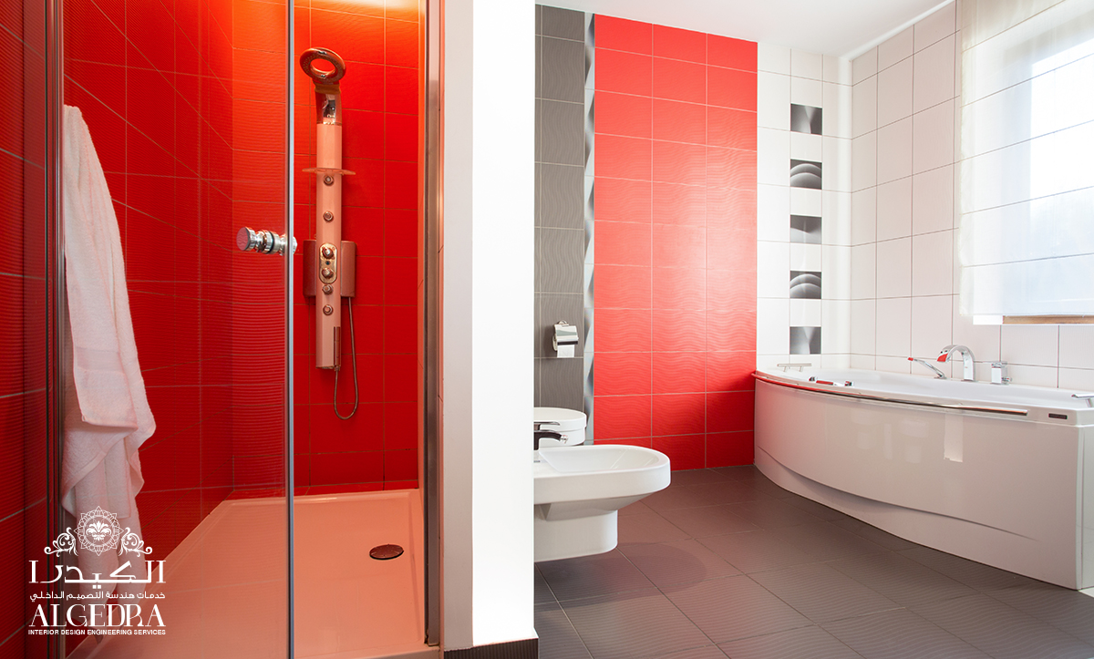 bold red with a grey floor bathroom