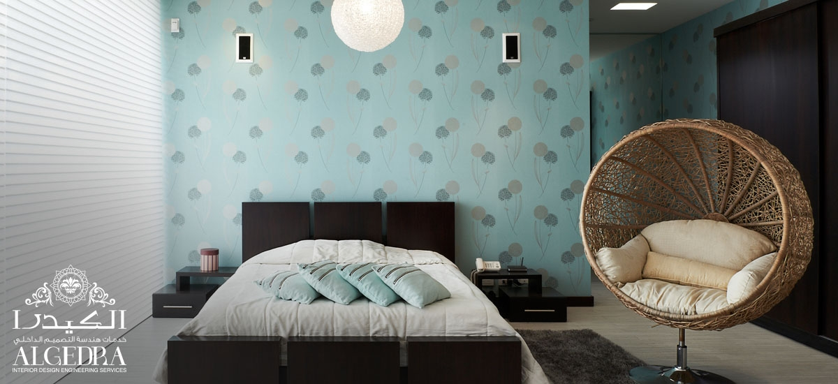 bedroom with colored wallpaper