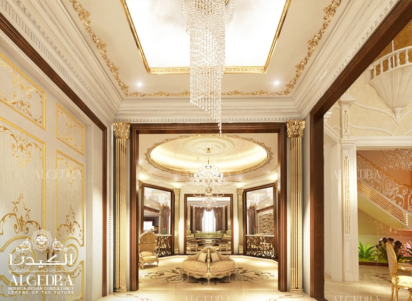 Villa entrance interior design lobby design by algedra for Villa hall interior design