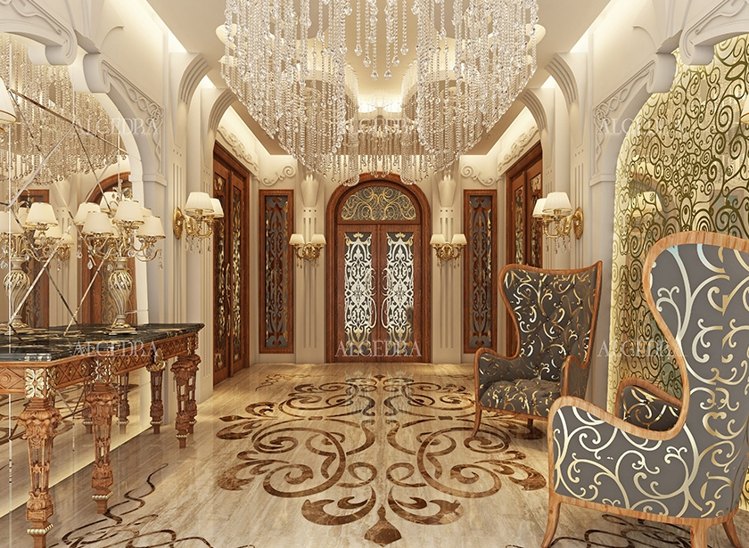 Lobby entrance design for villas houses palaces for Villa interior design in pakistan
