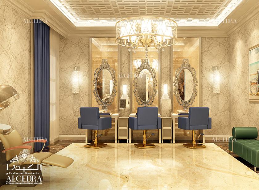 Salon interior design salon decoration in dubai for Interieur design salon