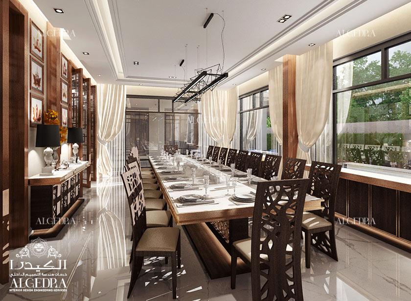 Villa dining room design photos by algedra interior team for Dining hall interior design