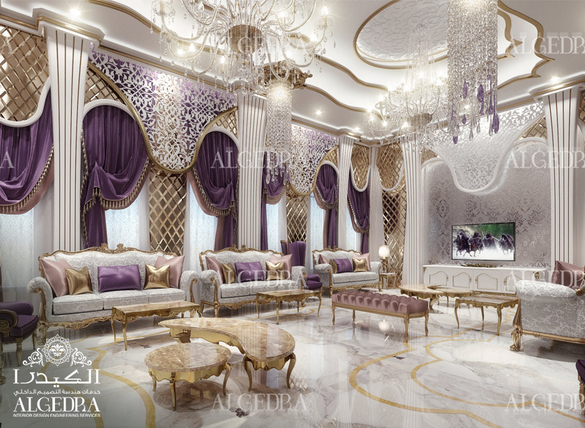 Women majlis design best interior decoration by algedra for Villa majlis interior design
