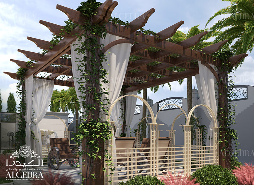 Garden landscape and swimming pool designs by algedra interior for Interior landscape design