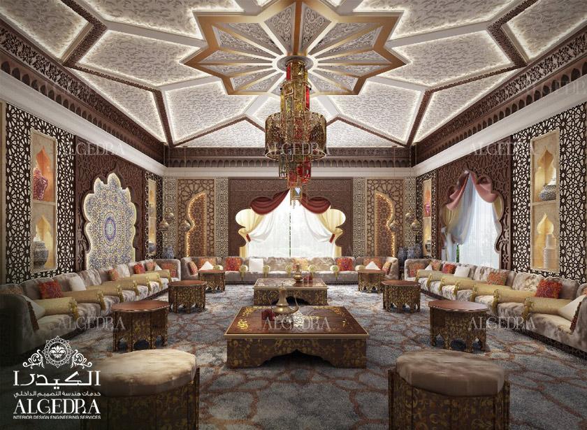 Moroccan majlis design men and women interior