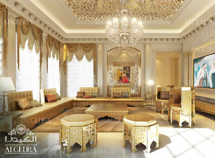 Moroccan majlis design men and women interior