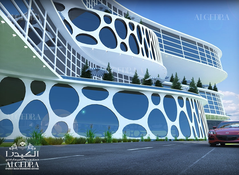 Hotel exterior design beautiful landscape designs by algedra for Hotel interior and exterior design