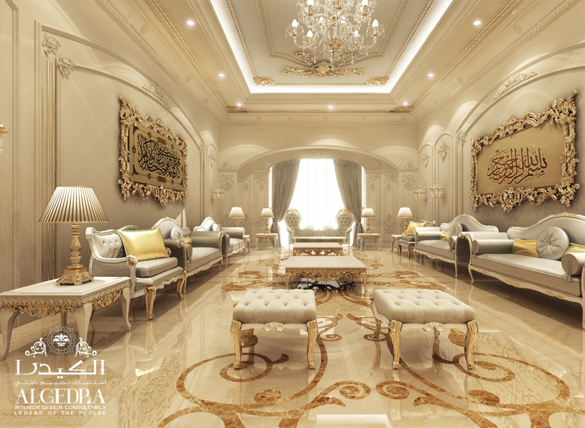 Majlis interios design photos by algedra interior uae for Classic house design interior