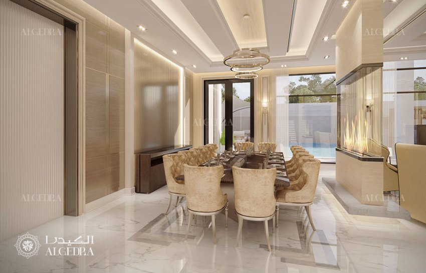 التصميم الداخلي لغرفة الطعام في عمان